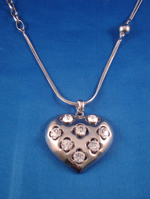 1 3 4 quot pendant with cz stones 28 quot chain necklace