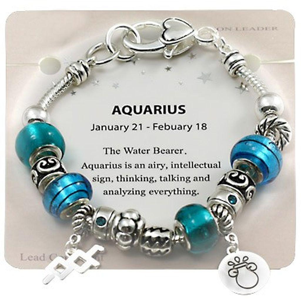 Zodiac Charm Bracelet: Aquarius Zodiac Sign Charm Bracelet, Pandora Inspired Beads
