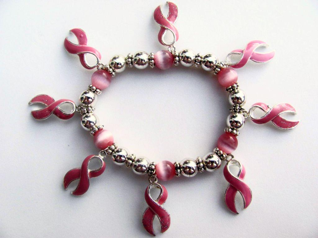 Breast cancer large pink ribbon charm inspirational bracelet