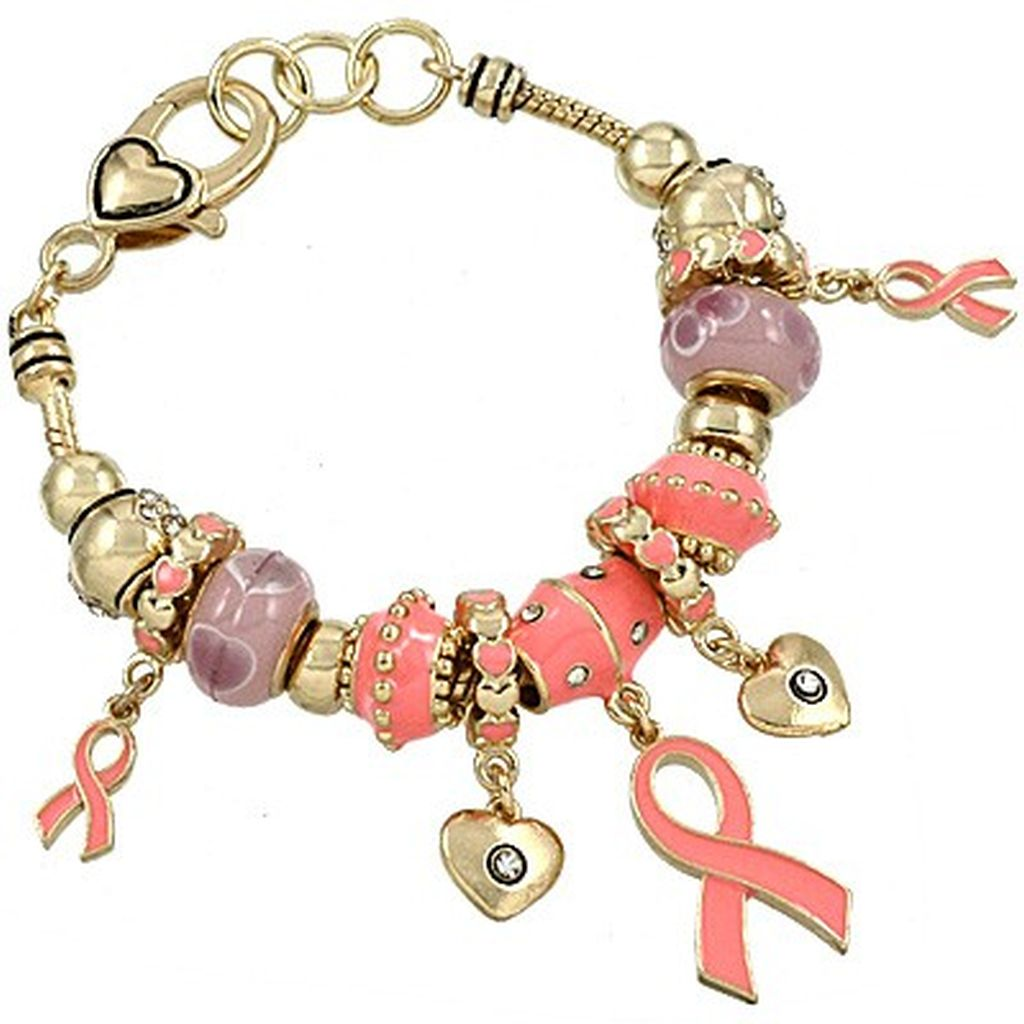 pandora inspired breast cancer pink ribbon charm