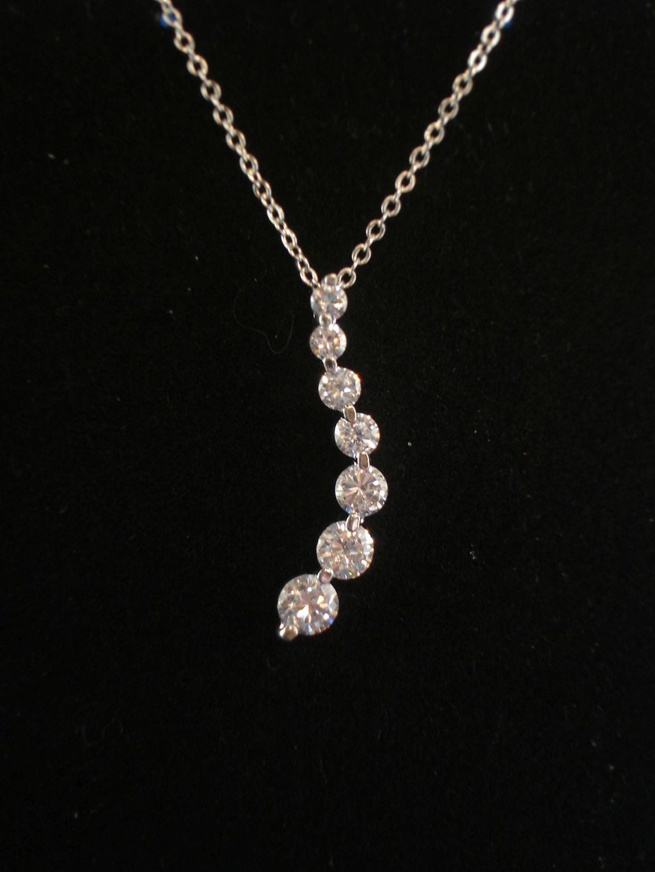 CZ Cubic Zirconia Diamonds Journey Pendant Silver Tone ...