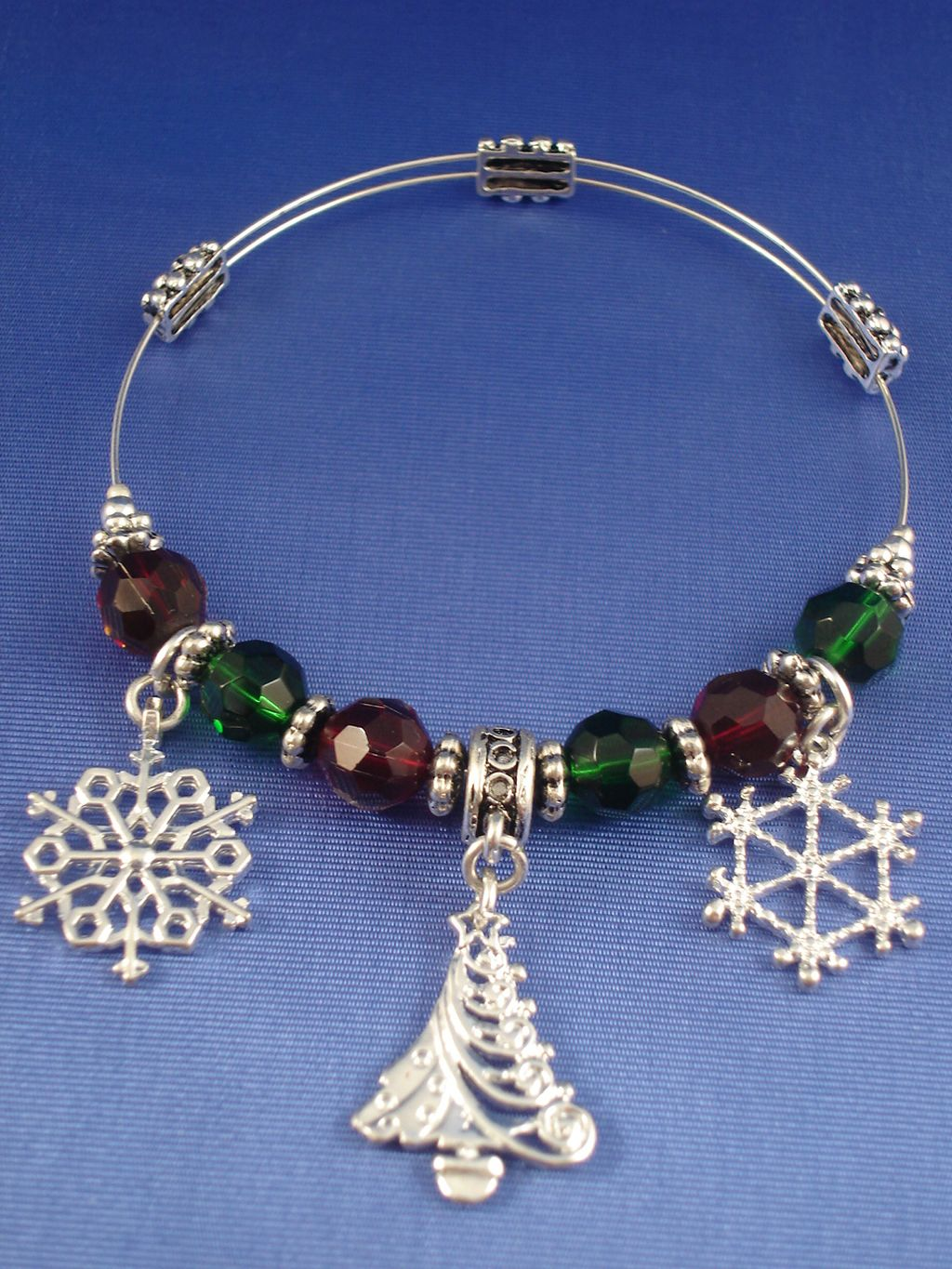 Christmas stretching bangle bracelet snow flakes tree
