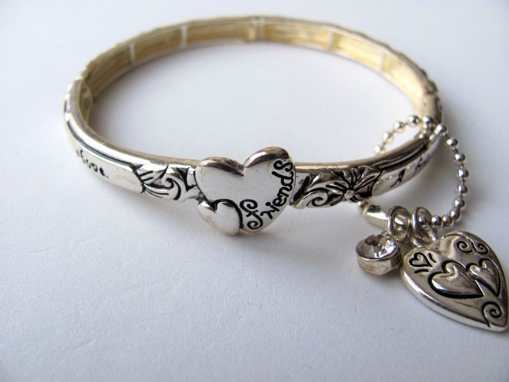 friends inspirational message heart charm bracelet silver