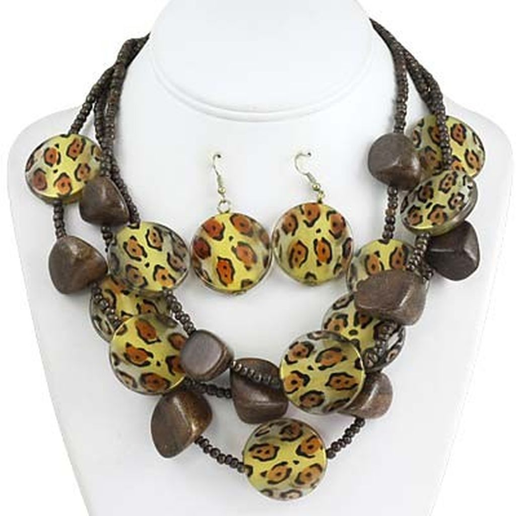 leopard skin print wood bead three layers necklace