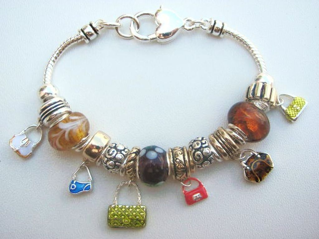Multicolor Fashion Purse Charm Bead Bracelet Pandora