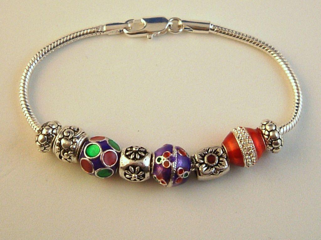 pandora inspired charm bracelet flower