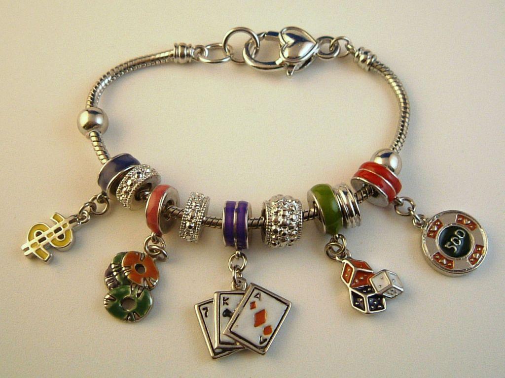 pandora inspired gambler charm bracelet dollar cards
