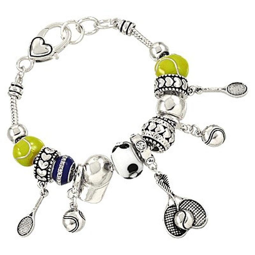 Tennis Charm Bracelet: Pandora Inspired Tennis Sport Theme Charm Bracelet, Ball