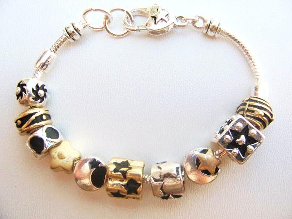 pandora inspired two tone charm bracelet