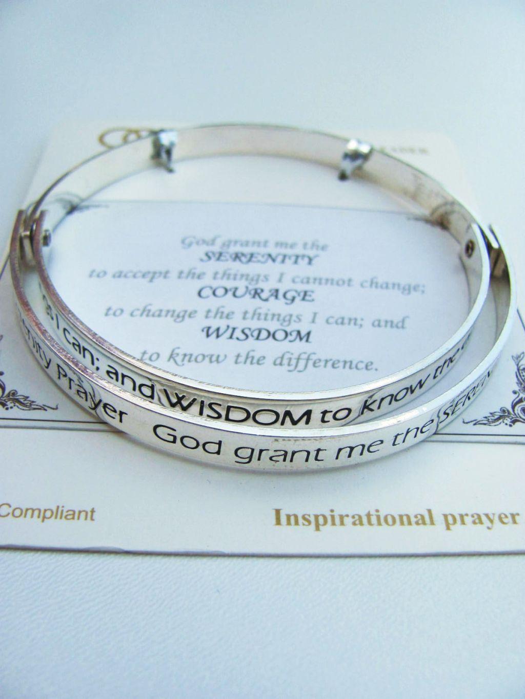 serenity prayer inspirational message bangle bracelet
