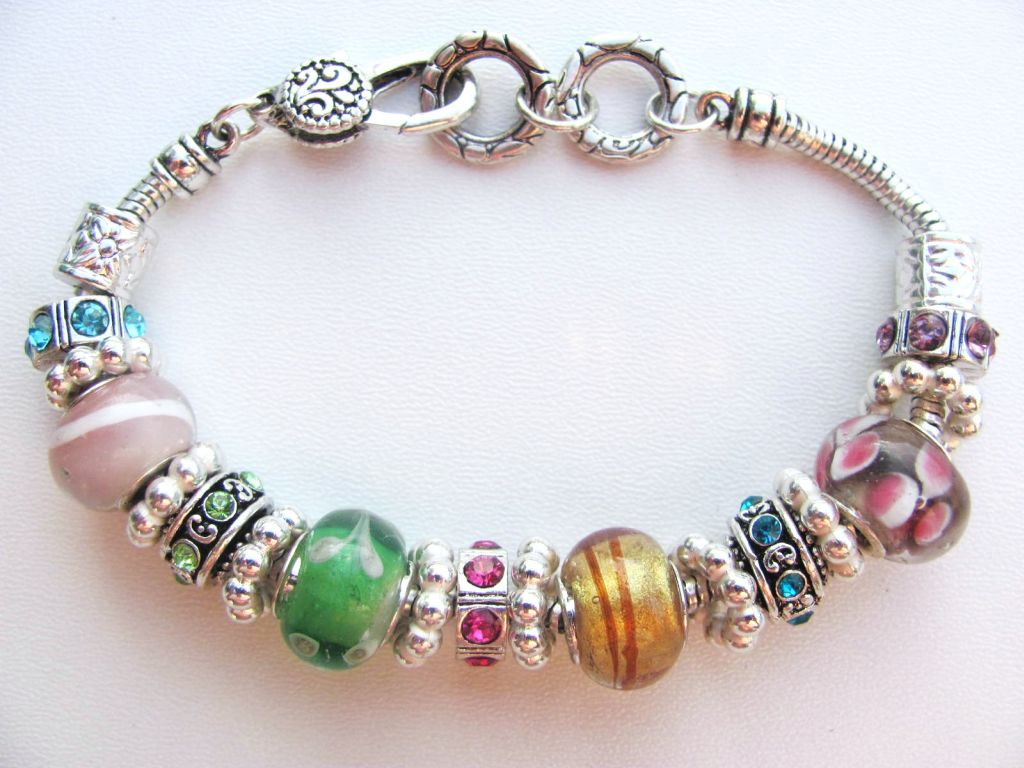 summer colors murano glass bead bracelet pandora style
