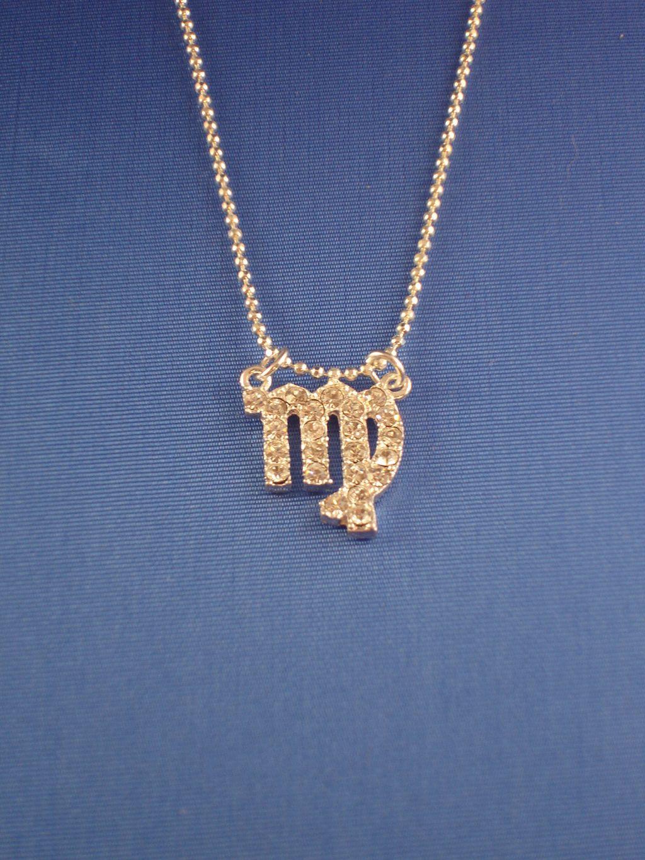 virgo zodiac sign necklace cz cubic zirconia crystals 16